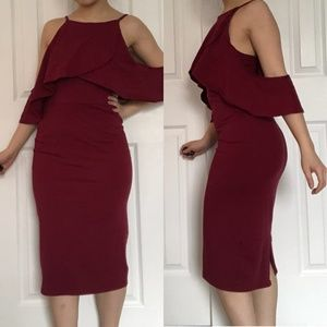 Asos Off Shoulder Red Midi Dress Size 6